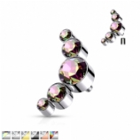 Bezel Set Five Crystal Cluster Arc Ear Helix / Tragus Labret Stud - 1.2mm