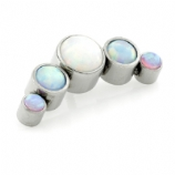 Five Stone Crescent Arc Cluster Labret Ear Stud - Mixed Opals