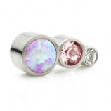 Pink Opal and Crystal Three Stone Arc Labret Ear Stud - Clear and Pink Crystal