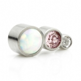 Opal and Crystal Three Stone Arc Labret Ear Stud - Clear and Pink Crystal