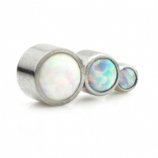 Opal Three Stone Arc Labret Ear Stud - Pink, White and Blue Opal