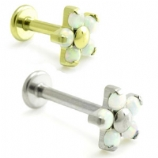 Opal Flower Internally Threaded Titanium Labret - 1.2mm