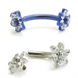 Crystal Double Flower Internally Threaded Titanium Curved Barbell - 1.2mm