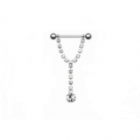 Diamante Crystal Drop Dangle Nipple Bar