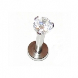 Prong Set Crystal Internally Threaded Labret Lip Stud - 1.6mm