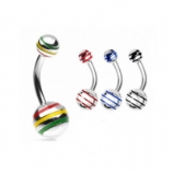 Striped Plain Steel Belly Piercing Bar