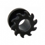 Swirl Saw Blade Black Acrylic Screw On Flesh Tunnel 3mm - 12mm
