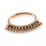 Beaded Fan Rose Gold Steel Hinged Segment Ring
