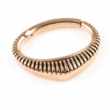 Striped Shield Rose Gold Steel Hinged Segment Ring