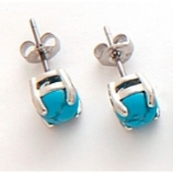 Turquoise Stone Surgical Steel Ear Ring - Single Stud