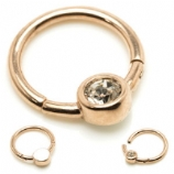 Crystal Center Rose Gold Steel Hinged Segment Ring