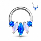 Five Marquise Opal Cluster Steel Hinged Segment Clicker Ring