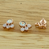 Rose Gold AB & Clear Crystal Cluster Internally Threaded Labret - 1.2mm