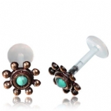 Rose Bronze Turquoise Bead Design Push-Fit Flexi Micro Labret