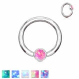 Flat Opal Disk Surgical Steel Ball Closure Ring - 1.2mm