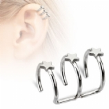 Triple Star Clip On Fake Helix Ear Cuff