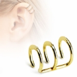 Gold Plated Triple Plain Clip On Fake Helix Ear Cuff