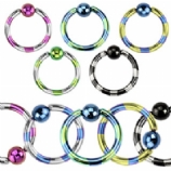Stripy Anodised Ball Closure Ring - 1.6mm