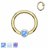 Flat Opal Disk Gold Surgical Steel Ball Closure Ring - 1.2mm