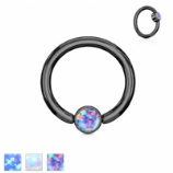 Flat Opal Disk Black Surgical Steel Ball Closure Ring - 1.2mm