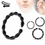 Black Twisted Surgical Steel Seam Ring