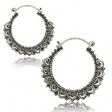 Silver Plated Brass Heart Boho Hoop Ear Rings - Pair