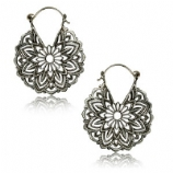 Silver Plated Brass Flower Mandala Boho Hoop Ear Rings - Pair
