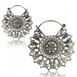 Silver Plated Mandala Pattern Boho Hoop Ear Rings - Pair