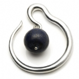 Silver Plated Spiral Brass Ear Weight - Lapis Lazuli Ball Dangle - 4mm or 6mm