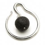 Silver Plated Spiral Brass Ear Weight - Lava Rock Ball Dangle - 4mm or 6mm