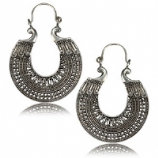 Silver Plated Brass Intricate Pattern Boho Hoop Ear Rings - Pair
