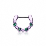 Purple & Black Opal Sparkle Septum Clicker Ring