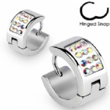 Iridescent Crystal Huggie Ear Hoop Earring - Single Ear Ring