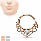Lotus Filigree Crystal Brass Seam Ring