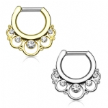 Crystal Lace Circles Septum Clicker Ring