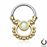 Gold Plated Single Hanging Opal Septum Clicker Ring