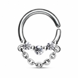 Triple Crystal Chain Dangle Surgical Steel Seam Ring