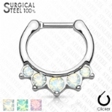 Graduating Opalite Hinged Septum Ring Clicker - Made Entirely From Surgical Steel