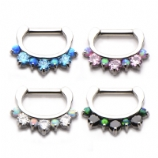 Crystal & Opal Hinged Septum Clicker Ring