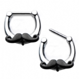 Moustache Hinged Septum Clicker Ring