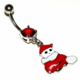 Melting Snowman Christmas Dangle Belly Piercing Bar