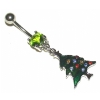 Green Christmas Tree Dangle Belly Piercing Bar