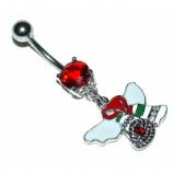 Christmas Bells Dangle Belly Piercing Bar