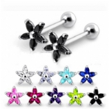 Large Flower Prong Sterling Silver Tragus / Helix Bar