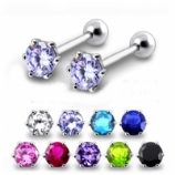 Large Round Prong Sterling Silver Tragus / Helix Bar