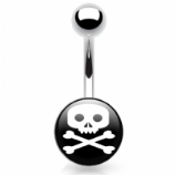 Skull & Crossbones Logo Belly Piercing Bar