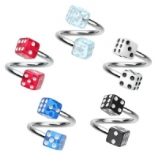 Colourful Dice Piercing Titanium Spiral Ring - 1.2mm
