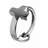 Plain Cross Huggie 1.6mm Clicker Piercing Ring