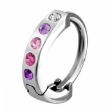 Crystal Studded Huggie 1.6mm Clicker Piercing Ring