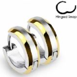 Gold / Steel Huggie Ear Hoop Earring - Single Ear Ring